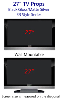 27 Inch TV Props - HDTV Style (with Bottom Speaker) in Gloss Black/Matte Silver