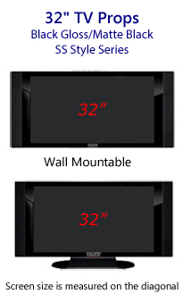 32 TV Props - HDTV Style (with Side Speakers) in Gloss Black/Matte Black