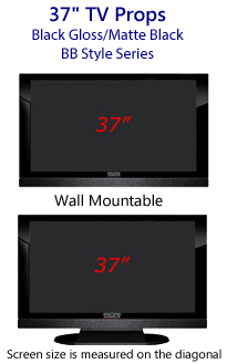 37 Inch TV Props - HDTV Style (with Bottom Speaker) in Gloss Black/Matte Black
