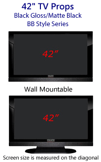 42 TV Props - HDTV Style (with Bottom Speaker) in Gloss Black/Matte Black