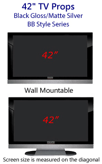 42 Inch TV Props - HDTV Style (with Bottom Speaker) in Gloss Black/Matte Silver