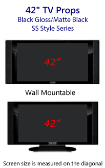 42 TV Props - HDTV Style (with Side Speakers) in Gloss Black/Matte Black