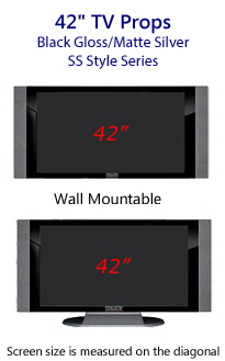 42 Inch Prop TVs - HDTV Style (with Side Speakers) in Gloss Black/Matte Silver