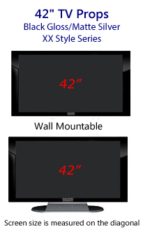 42 Inch TV Props - Plasma TV Style in Gloss Black/Matte Silver