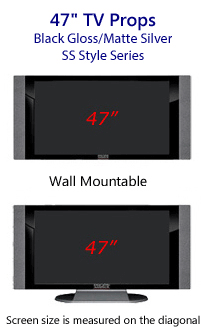 47 Prop TVs - HDTV Style (with Side Speaker) in Gloss Black/Matte Silver