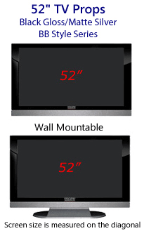 52 Inch TV Props - HDTV Style (with Bottom Speaker) in Gloss Black/Matte Silver