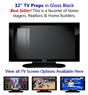 32 TV Props | 32 Inch Prop TVs Black Gloss & Matte Black XX Style with Simple Frame