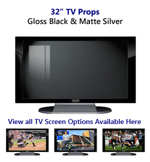 32 TV Props | 32 Inch Prop TVs Black Gloss & Matte Silver XX Style with Simple Frame