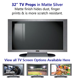 32 TV Props | 32 Inch Prop TVs Matte Silver XX Style with Simple Frame