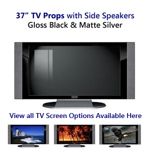 37 TV Props | 37 Inch Prop TVs in Black Gloss & Matte Silver with Side Speakers