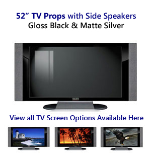 52 TV Props | 52 Inch Prop TVs in Black Gloss & Matte Silver with Side Speakers