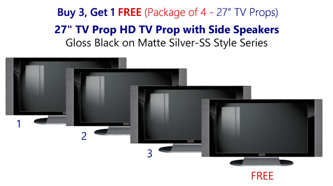 "Buy 3 Get 1 Free (4-Pack) 27"" HD TV Props with Side Speakers in Gloss Black on Matte Silver"
