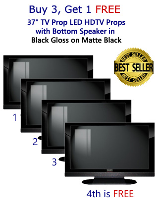 "Buy 3 Get 1 Free (4-Pack) of 37"" HDTV Prop with Bottom Speaker in Gloss Black on Matte Black"