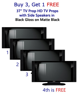 "Buy 3 Get 1 Free (4-Pack) of 37"" TV Prop HD TVs with Side Speakers in Gloss Black on Matte Black"