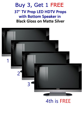 Buy 3 Get 1 Free (4-Pack) 37 Inch HD TV Prop with Bottom Speaker in Gloss Black on Matte Silver
