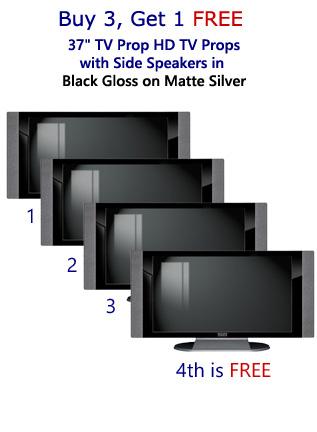 "Buy 3 Get 1 Free (4-Pack) 37"" HD TV Props with Side Speakers in Gloss Black on Matte Silver"