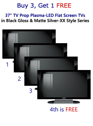 "Buy 3 Get 1 FREE 37"" TV Prop Plasma-LED-LCD TVs in Gloss Black on Matte Silver"
