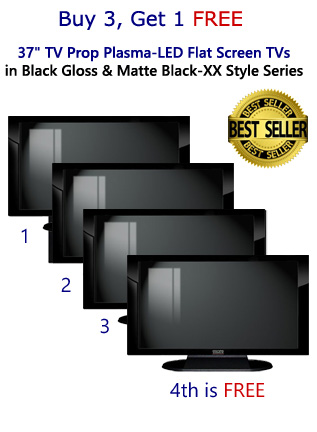 "Buy 3 Get 1 FREE 4-Pack of 37"" TV Prop Plasma-LED-LCD TVs in Gloss Black on Matte Black"