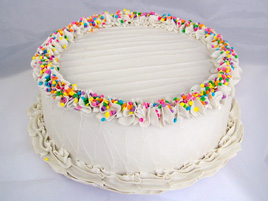 Large Vanilla Frosted Birthday Cake with Pastel Sprinkles