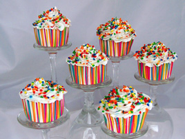 Cupcakes with Vanilla Frosting and Primary Sprinkles