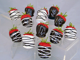 Strawberries Dipped in Chocolate and Whipped Cream (Set of 12)