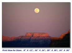 Moonrise over Grand Canyon on Canvas