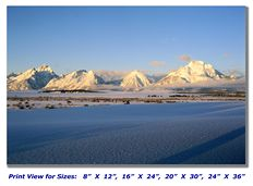 Grand Tetons in the Winter on Canvas