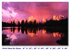 Grand Tetons at Sunset and Jenny Lake on Canvas