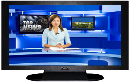 "47"" TV Prop Plasma-LED Flat Screen TV in Matte Black-XX Style Series with Hollywood News Screen"