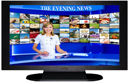 "47"" TV Prop Plasma-LED Flat Screen TV in Matte Black-XX Style Series with Evening News Screen"
