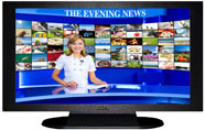 "27"" TV Prop Plasma-LED Flat Screen TV in Matte Black-XX Style Series with Evening News Screen"