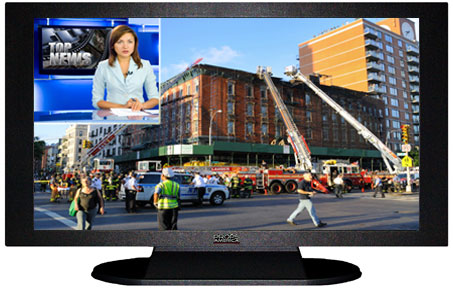 "47"" TV Prop Plasma-LED Flat Screen TV in Matte Black-XX Style Series with Emergency Response News Screen"