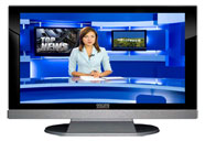 "52"" TV Prop LED HDTV Prop with Bottom Speaker in Gloss Black on Matte Silver-BB Style Series with Hollywood News Screen"
