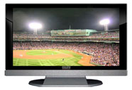 "52"" TV Prop LED HDTV Prop with Bottom Speaker in Gloss Black on Matte Silver-BB Style Series with Baseball Game 2 Screen"