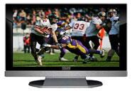 "52"" TV Prop LED HDTV Prop with Bottom Speaker in Gloss Black on Matte Silver-BB Style Series with Football Game 1 Screen"