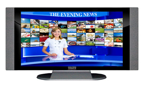 "52"" TV Prop HD TV Prop with Side Speakers in Gloss Black on Matte Silver-SS Style Series with Evening News Screen"