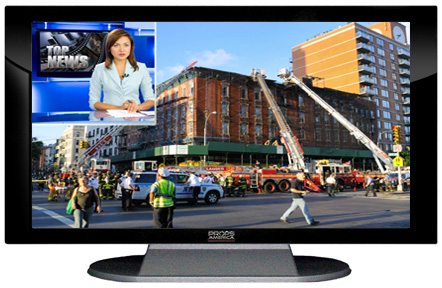 "52"" TV Prop Plasma-LED Flat Screen TV in Gloss Black on Matte Silver-XX Style Series with Emergency Response News Screen"