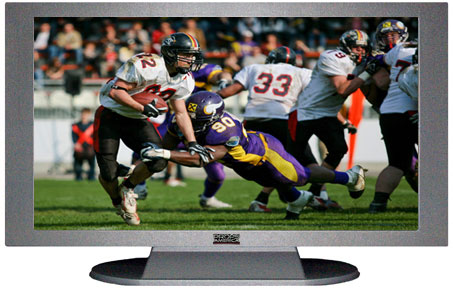 "52"" TV Prop Plasma-LED Flat Screen TV in Matte Silver-XX Style Series with Football Game 1 Screen"