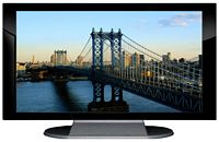"27"" TV Prop Plasma-LED Flat Screen TV in Gloss Black on Matte Silver-XX Style Series with Manhattan Bridge Screen"