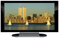 "27"" TV Prop Plasma-LED Flat Screen TV in Gloss Black on Matte Silver-XX Style Series with Sail Boats in New York City Screen"