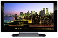 "27"" TV Prop Plasma-LED Flat Screen TV in Gloss Black on Matte Silver-XX Style Series with New York City at Night Screen"