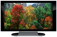 "27"" TV Prop Plasma-LED Flat Screen TV in Gloss Black on Matte Silver-XX Style Series with Autumn Trees Screen"