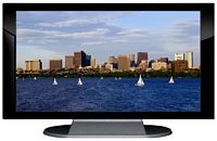 "27"" TV Prop Plasma-LED Flat Screen TV in Gloss Black on Matte Silver-XX Style Series with Massachusetts Bay in Boston Screen"