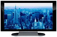 "27"" TV Prop Plasma-LED Flat Screen TV in Gloss Black on Matte Silver-XX Style Series with Blue Manhattan Screen"