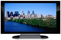 "27"" TV Prop Plasma-LED Flat Screen TV in Gloss Black on Matte Silver-XX Style Series with Philadelphia Screen"