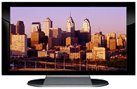 "27"" TV Prop Plasma-LED Flat Screen TV in Gloss Black on Matte Silver-XX Style Series with Philadelphia at Sunset Screen"