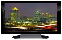 "27"" TV Prop Plasma-LED Flat Screen TV in Gloss Black on Matte Silver-XX Style Series with Atlanta at Night Screen"