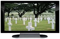 "27"" TV Prop Plasma-LED Flat Screen TV in Gloss Black on Matte Silver-XX Style Series with Fallen Heroes Screen"