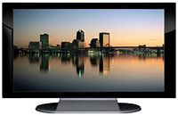 "27"" TV Prop Plasma-LED Flat Screen TV in Gloss Black on Matte Silver-XX Style Series with Jacksonville at Dusk Screen"