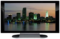 "27"" TV Prop Plasma-LED Flat Screen TV in Gloss Black on Matte Silver-XX Style Series with Miami at Dusk Screen"